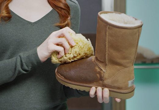 f3c2bcdb6 Gently scrub the entire surface of your boot. When finished, use a clean,  damp sponge to remove excess residue.