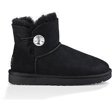 Image of UGG BLACK MINI BAILEY BUTTON BLING II