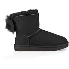 Image of UGG BLACK FLUFF BOW MINI
