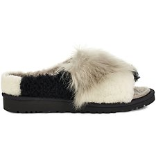 Image of UGG BLACK PATCHWORK FLUFF SLIDE