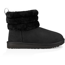 Image of UGG BLACK FLUFF MINI QUILTED