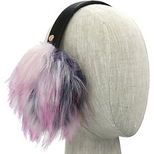 Image of UGG BLACK MULTI FAUX FUR PATCHWORK EARMUFF